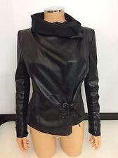 RIVER ISLAND black Faux Leather Biker Jacket Coat Size 38 Uk 10 Vgc