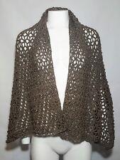 Handmade Wide Scarf Shawl Brown Sparkle Glitter Rectangle Crochet