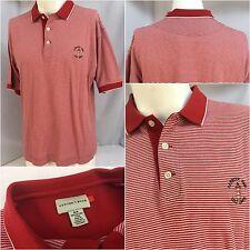 Harbour Town Golf Links Polo Shirt M Men Red Stripe Cotton Cutter Buck Ygi 5346