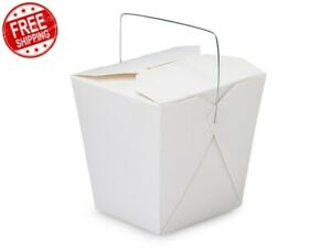 100 Pcs Chinese Take Out Box 32 oz White Wire Handle Takeout Bag Food Containers