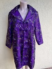 Vintage Royal Purple Oriental Robe Gold Thread Embroidered Frog Closures