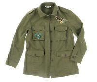 Zara Basic Womens Green Denim 4 Pockets Long Sleeve Utility Jacket Size L 133357