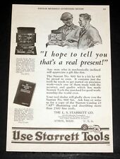 1927 OLD MAGAZINE PRINT AD, STARRETT TOOLS, # 900 SET, JUST THE TOOLS HE NEEDS!