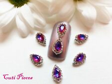 3D Nail Art Teardrops Shape Rhinestone Silver Frame Jewels Gems Alloy Metallic
