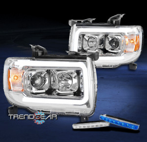 For 2015-2019 GMC Canyon LED Tube Chrome Projector Headlights w/Blue DRL Signal