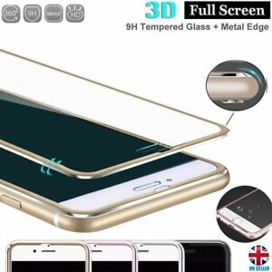 3D Metal Edge Tempered Glass Screen Protector iPhone 6 7 8 Plus XS XR 11 Pro Max