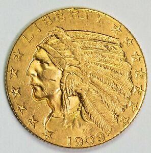 1909 $5.00 Indian Head Gold Half Eagle Item#P13132