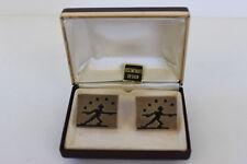 Vintage Swank Gold Tone Rectangular Textured Cuff Links Black Stick Figure Boxed