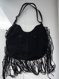 NWT CANYON RIVER BLUES HIPPIE STYLE BLACK STUDDED FRINGED FAUX SUEDE HOBO