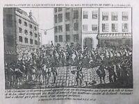 Paris sous la Loi Martiale 1789 Rare Gravure Révolution Française Garde Narional