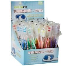 100 Toothbrushes+Cover, Individually Wrapped Med Soft 5 Color (DAMAGED Carton)
