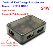 QC2.0 QC3.0 Dual USB Fast Charger DC 6V-32V to 24W 2.4A Buck Module Mobile Phone