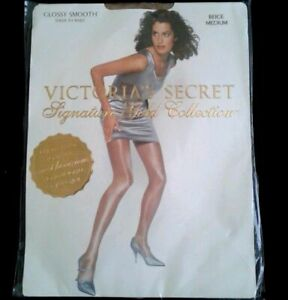 NEW Victoria Secret Signature Gold Glossy Smooth Pantyhose Black M NO PACKAGE