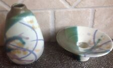 VINTAGE POTTERY GREEN BUD VASE + CANDLE HOLDER ~ SIGNED BY HELGA~MADE IN CANADA