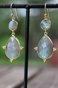 Labradorite Fine Sterling Silver Earrings 2 inch Drop Silver- Gold Plated