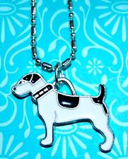 JACK RUSSELL TERRIER PUPPY DOG Black & White CHARM PENDANT NECKLACE USA MADE #D1