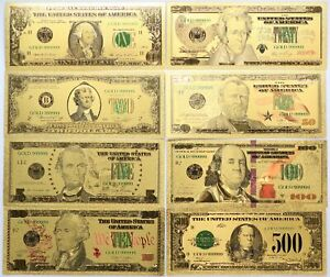 Gold Note Set $1 $2 $5 $10 $20 $50 $100 $500 Federal Reserve 24k Plated Currency
