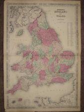 New listing 1864 England Wales Civil War Map Johnson Geography Atlas