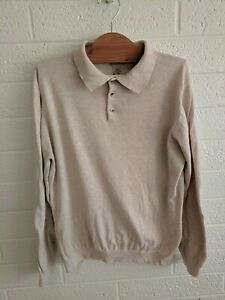 LL Bean Cotton and Nylon Polo Sweater shirt Size L Cream Off White Long Sleeve