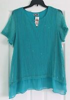 JM Collection Women's Plus Size 1X 3X Blue Keyhole Short Sleeve NWT $64.50