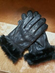Black LEATHER Gloves With Rabbit Fur Trim-Sz M -GENUINE LEATHER