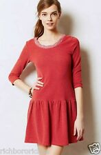 NEW Anthropologie red Textured Knit Ruffled Tunic Dress Petite XS