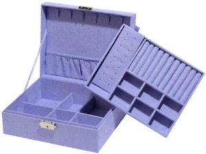 Two-Layer Jewelry Box Organizer Display Storage Case with Lock Suede Portable Le