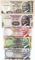 TURKEY 5 PCS UNC SET 5 10 20 50 100 LIRA 1974 1979 Pick 185 186 187 188 189