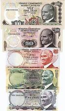 TURKEY 5 PCS SET 5 10 20 50 100 LIRA 1974 1979 UNC P.185 186 187 188 189 Ems 6th