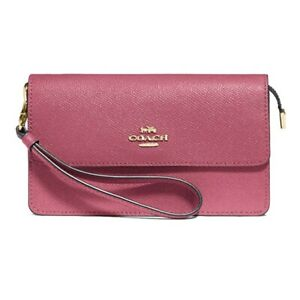NWT COACH Luxury Foldover Wristlet Clutch Wallet Pouch Rouge Pink Gold F73793