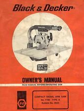 Black and Decker #7700 Compact Radial Arm Saw Type A Owners Manual * CDROM * PDF