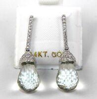 Pear Green Green Amethyst & Diamond Drop Dangle Earrings 14K White Gold 9.70Ct