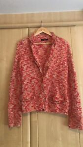 Marc Cain Weave Boucle Coral Pink Jacket N4 (approx UK size 14)
