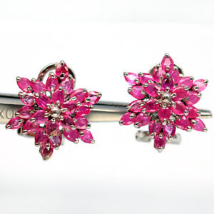 NATURAL HEATED 2 X 3 mm. PINK RUBY 925 STRELING SILVER EARRINGS