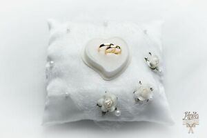 wedding ring pillow cushion engagement ring holder  p 12 white roses& lace