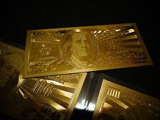 LOT OF 5 -24 KARAT 99.9  % GOLD  100 DOLLAR-USA MINT BILL- IN RIGID BILL HOLDER