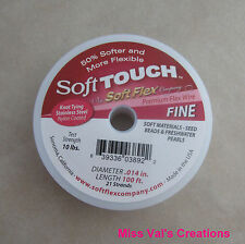 "100' Soft Touch beading wire 21 strand fine clear steel .014"" width Made in USA"