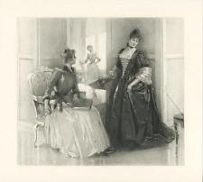ANTIQUE VICTORIAN BEAUTIFUL WOMAN CORSET WAIST BUSTLE EVENTAIL FAN ELEGANT PRINT