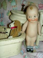"""Adorable c1914, all-bisque, """"Wide Awake"""", jtd. doll w/side-glance eyes~excellent"""