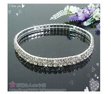 Lots 12Pcs 2Rows Clear Crystal Rhinestone Stretchy Anklets Wedding Party Jewelry