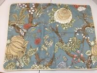 2 POTTERY BARN Standard Pillow Shams Cotton/Linen Blue Floral Pair Set 5-300-2