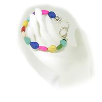 Freedom Handcuff USA Artisan Boho Howlite Bead Stretch Bracelet Free Gift Box
