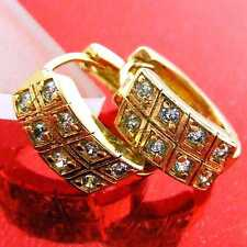 Solid Diamond Simulated Huggie Hoop Earrings Fs874 Genuine 18K Yellow G/F Gold