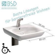 Waschbecken BEHINDERTENGERECHT 65cm + siphon + Waschtischarmatur langer Hebel