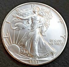 1991 UNCIRCULATED AMERICAN EAGLE SILVER COIN! BEAUTIFUL - EXCELLENT!!