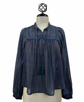 Lucky Brand Peasant Blouse Women's Tassel Tie Neck Striped Sheer Navy Top Sz XS