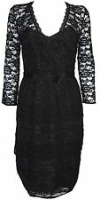 New Basque Womens Dress Lace Long Sleeves in Black Colour Size 8