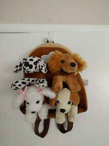"""NEW Dog Backpack 11"""" by UNIPAK, Four removable Stuffed Dogs"""