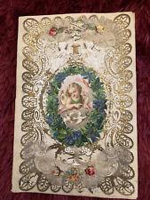 More details for antique victorian paper lace scraps with hidden message card