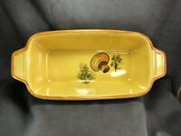Vintage Los Angeles Pottery Yellow Mushroom Bread Baking Loaf Dish Ovenware #603